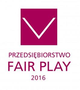"""Certyfikat Jakości Biznesu """"Przedsiębiorstwo Fair Play"""" 2016"""