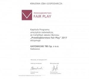 """Certyfikat Jakości Biznesu """"Przedsiębiorstwo Fair Play"""" 2017"""