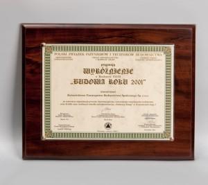 """Budowa Roku 2001"""" Wyróżnienie za Osiedle Mieszkaniowe Bulwary Rawy – etap I"""