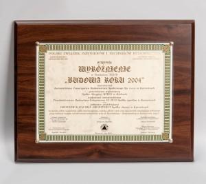 """""""Budowa Roku 2004"""" Wyróżnienie za Zespół Mieszkaniowo-Usługowy przy ul. Krasińskiego 14"""
