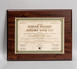 """""""Budowa Roku 2004"""" Dyplom Uznania za Osiedle Giszowiec przy ul. Pod Kasztanami"""