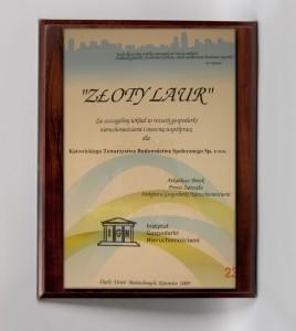 """""""Złoty Laur"""" za szczególny wkład w rozwój gospodarki nieruchomościami i owocną współpracę 2009"""